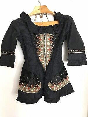 1870s Jacket blouse Top Antique Vintage Embroidered Silk Victorian
