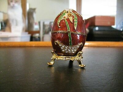 Stunning Red and Green Jeweled Enameled Faberge Egg Vanity Jewelry Ring Box