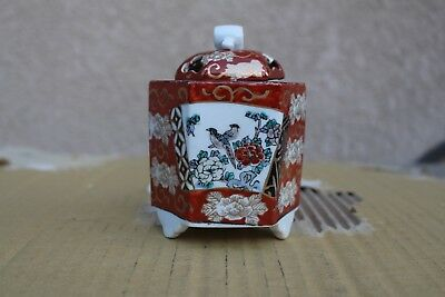 Antique Japanese hand painted gold Imari porcelain tea caddy