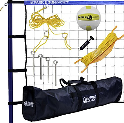 Park & Sun Sports Spiker Sport: Portable Outdoor Volleyball Net System, Blue