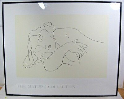 lot of 2 Henri MATISSE framed poster print SLEEPING & RECLINED NUDE WOMAN sketch