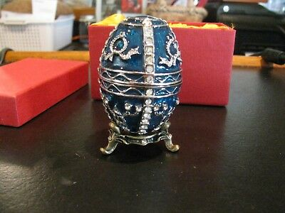 Dark Green/Blue and Silver Jeweled Enameled Faberge Egg Jewelry Ring WITH BOX!