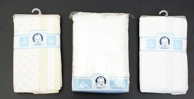 NIP LOT OF 3 - GERBER 4 PACK FLANNEL BURP CLOTHS x 2 and 12 PACK CLOTH DIAPERS