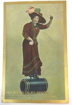 VINTAGE VICTROLA CYLINDER POSTCARDadvertising Ace High record, lady unposted