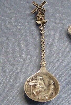 Antique Collectible sterling silver large spoon with moveable windmill 5 inches
