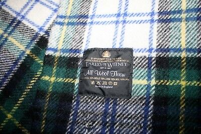 EARLY'S of WITNEY Tartan Plaid Wool Throw - Dress Gordon Plaid Blanket ENGLAND