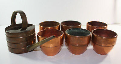 VINTAGE CHASE Lot of Copper WATERING CAN and TOM THUMB PLANTERS Art Deco 1930s