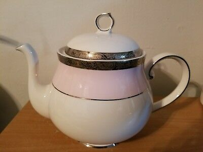 Mary Kay White and Pink Tea Pot With Lid