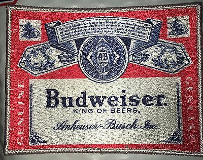 Large Budweiser Patch 5 1/4 X 4 Inch Patch RETRO NEW VINTAGE   King Of Beers