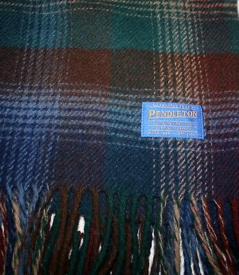 "PENDLETON Tartan Plaid 100% Wool Throw - Plaid Blanket Portland, Oregon 53""x71"""
