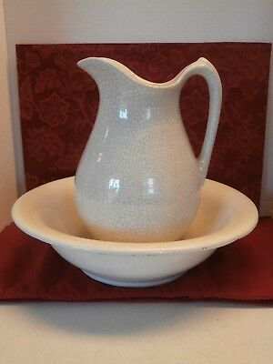Porcelain Pitcher and Bowl white with glass crackle finish