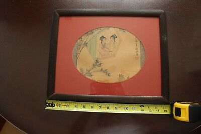Antique Chinese hand painting beauties wall hanging, signed