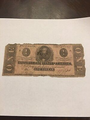 1862 Confederate One Dollar Note