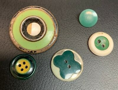 5 Vintage Green Celluloid and Plastic Buttons Nice Shapes/Patterns 1/2 -1 1/8""