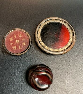 Set of 3 Vintage Red Early Plastic/Celluloid Buttons Nice Shapes 1/2 - 1""