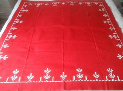 Vintage Red Evenweave With White Hardanger Embroidery Table Cloth To Complete