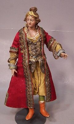 Antique Glass Eyed Italian Religious Creche Figure, 9 1/2 inches tall