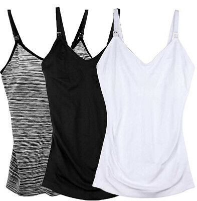 3-Pack Nursing Cami Tank Top with Build-In Maternity Bra Breastfeeding Shirt