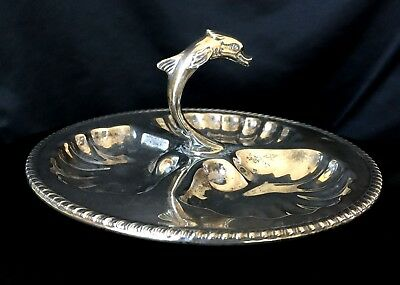 Vintage Canterbury Silver Plated Candy Nut Serving Tray Center Fish Handle