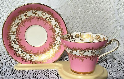 Royal Stafford Bone China Tea Cup & Saucer - Pink with Gold (728)