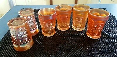 Fenton Butterfly And Berry Carnival Glass Marigold 6 Glasses. C1920