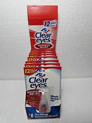 8 Pack Of Clear Eyes  Drops Redness Relief 0.2 Oz.6 Ml Exp (2021)Up To 12 Hours