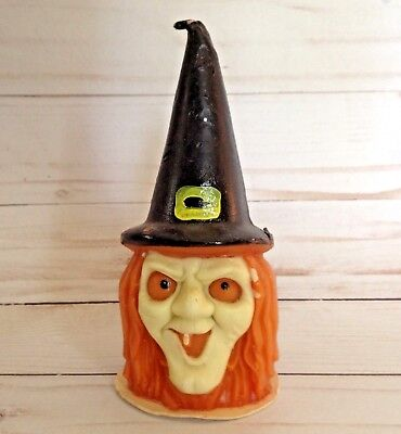 "Vintage Witch Head Figural Candle Halloween Guild House 5 1/2"" Tall Like Gurley"