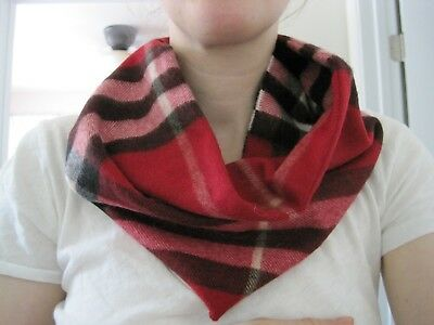 Burberry Children Infinity Snap Neck Scarf Red Black White Plaid FITS WOMEN