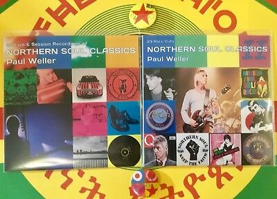 PAUL WELLER RARE DBL CD - NORTHERN SOUL CLASSICS 1 & 2+ 2FRED PERRY LtD EdN Pins