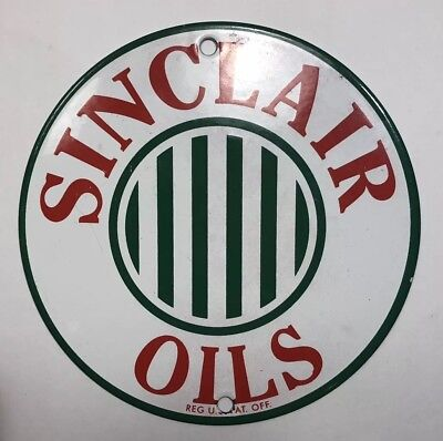 Sinclair Opaline Gas Oil Pump Plate Vintage Thick Porcelain Old Heavy Steel Sign