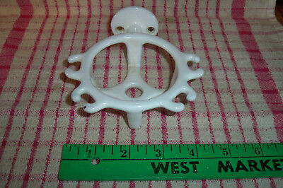 Antique Cast Iron Porcelain Wall Mounted Toothbrush/ Glass Holder Vintage