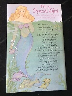 HTF Vtg 1990s Birthday Melinda the  MERMAID PAPER DOLL Card American Greeting