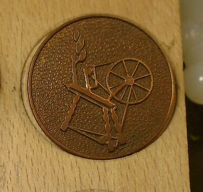 """NICE 1 1/8"""" Spinning Wheel Copper Antique Button 756:11"""