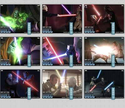 ART OF THE DUEL SERIES 2 BLUE COMPLETE SET OF 9 Topps Star Wars Trader Digital