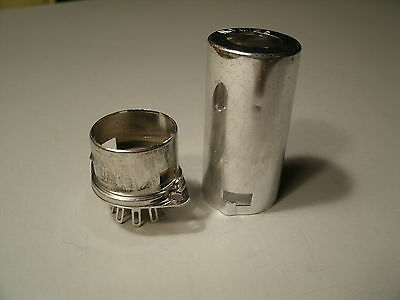BELTON 9 pin 12AX7 tube socket with shield,  top mount, fits Fender, w/hardware