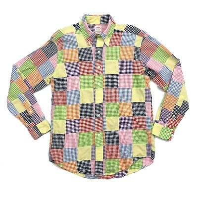 Brooks Brothers Mens Size Medium Multi-Color Plaid Patchwork Button Down Shirt