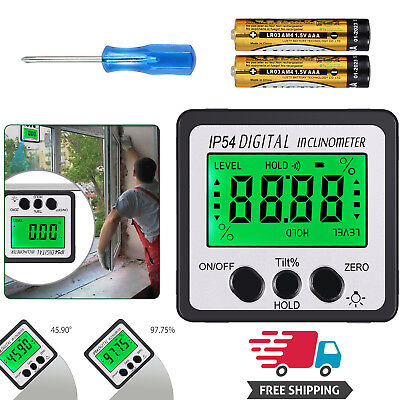 0-360°Digital Inclinometer Level Box 4*90° Angle Finder Bevel Gauge Protractor