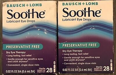 Lot Of 2 Bausch & Lomb Soothe Preservative Free Lubricant Eye Drops 28 Each.
