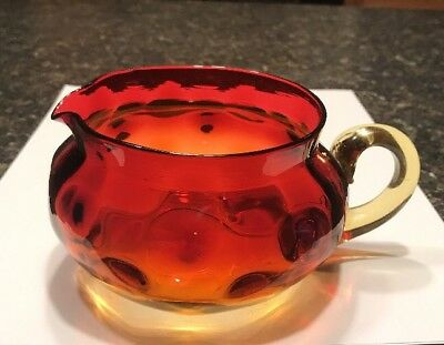 Stunning Amberina Glass Creamer Inverted Thumbprint Gorgeous Piece