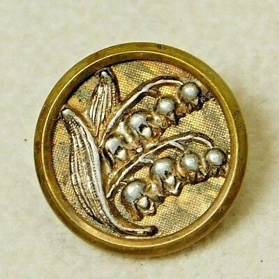 SMALL Antique VINTAGE Button Victorian Brass Lily of the Valley Flowers 15B7