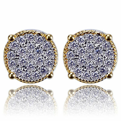 HipHop Earring18k silver Gold ICED OUT Simulated Diamond Micropave Round Stud