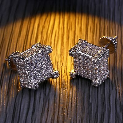 Square Stud Hip Hop Earring18K White Gold ICED OUT AAA Lab Diamond Micropave3G