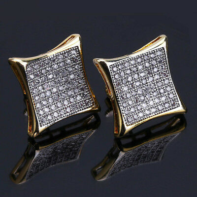 18K Gold Stud ICED OUT A+ Lab Diamond Micropave Square Stud Hip Hop Earring 5.4G