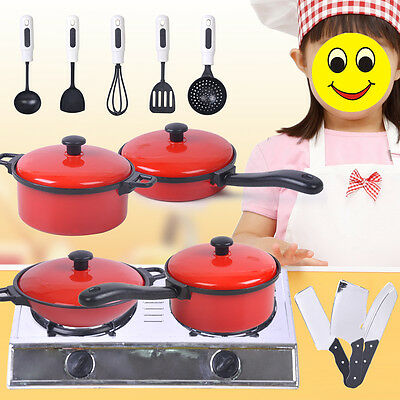 13Pcs Kids Play Toy Kitchen Utensils Pots Pans Cooking Food Dishes Cookware Toy