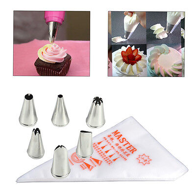 6x Icing Piping Nozzles+100Pcs Disposable Bag Icing Nozzle Fondant Cream Pastry