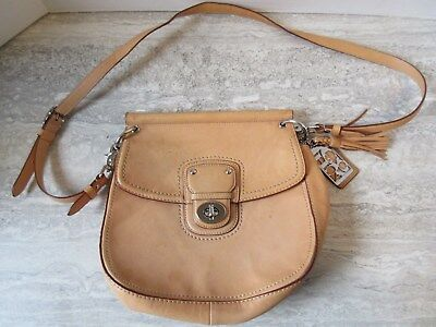 Coach Tan Leather Multi color Stripe Interior Handbag Purse