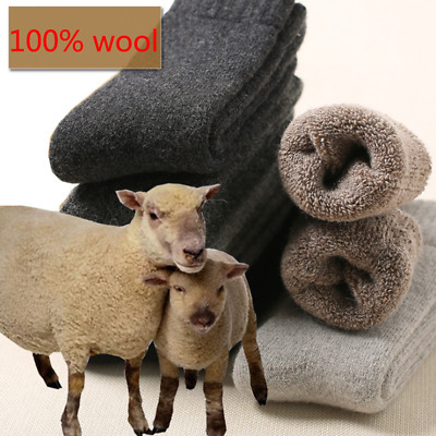 US 3Pairs Mens/Women 100% Wool Cashmere Winter Thermal Soft Casual Warm Socks