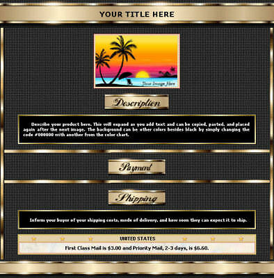 AUCTION TEMPLATE Metallic Border with Dots on Black BG Design - FREE Shipping