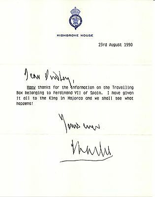 Prince Charles hand signed 1990 hand letter-royal history