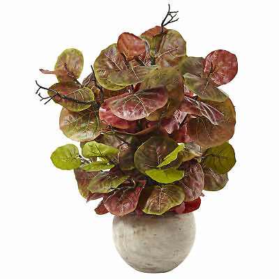 "36"" Seagrape Silk Plant w/Sand Colored Bowl -Burgundy/Green"